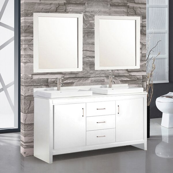 Chauncy Contemporary 60 Double Sink Bathroom Vanity Set with Mirror by Wade Logan