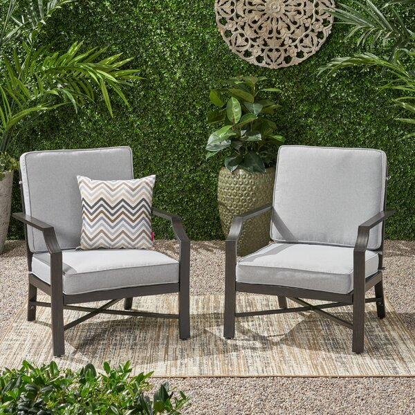Poff Outdoor Patio Chair with Cushions (Set of 2) by Canora Grey Canora Grey