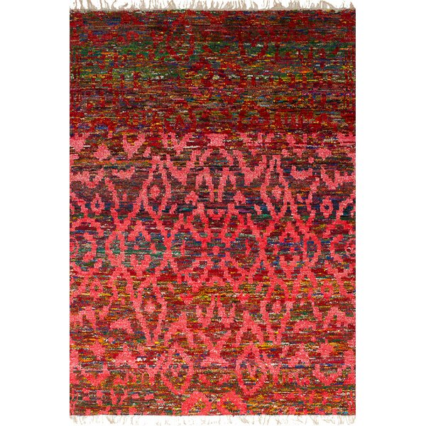 One-of-a-Kind Dennet Hand-Knotted Silk Red Area Rug by Bungalow Rose