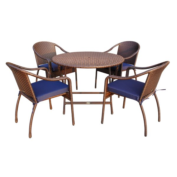 Jadon 5 Piece Dining Set with Cushion by Rosecliff Heights