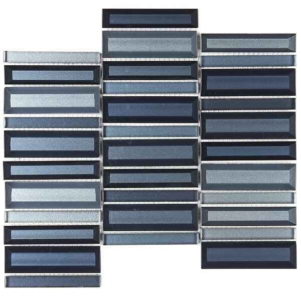 1 x 4 Glass Mosaic Tile in Cerulean Swell by Itona Tile