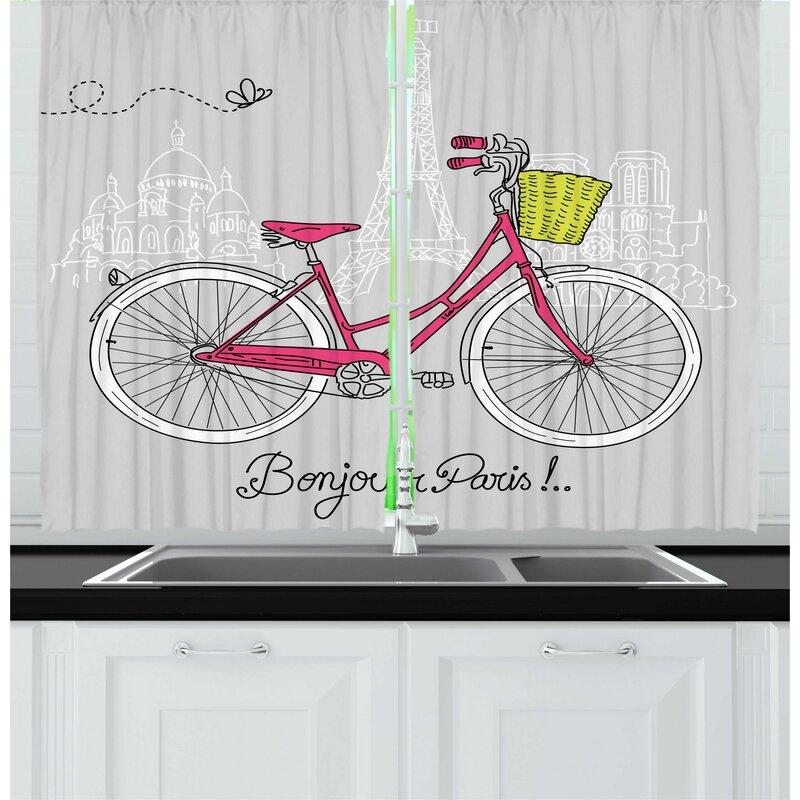 East Urban Home 2 Piece Eiffel Tower Bonjour Paris Cartoon Design Of A Bicycle Kitchen Curtain Set Wayfair