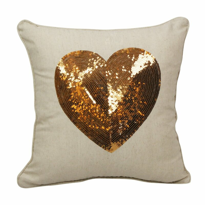 Emma and Violet Sequin Heart Throw Pillow