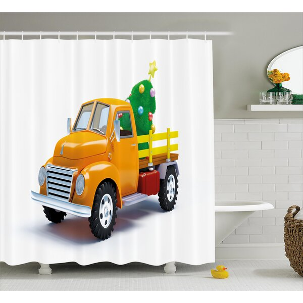 Christmas Vintage Truck Shower Curtain by The Holiday Aisle