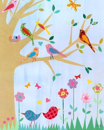 Birds in a Tree Canvas Art by Oopsy Daisy