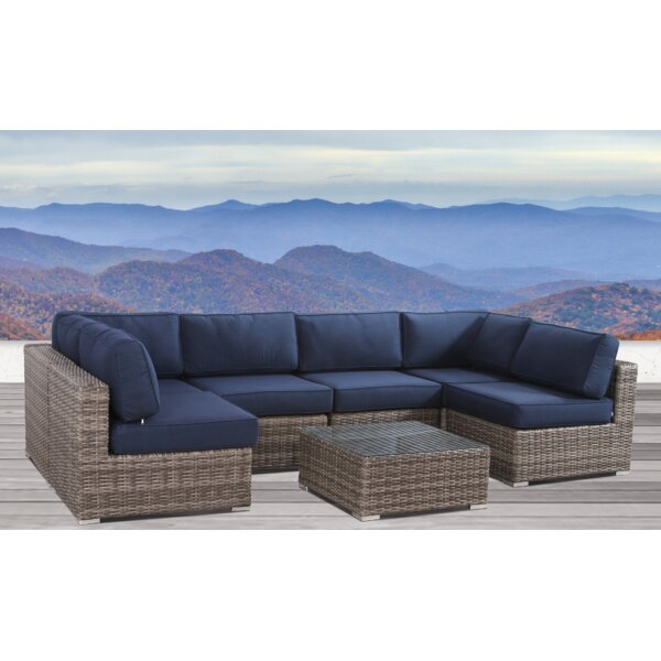 Hettie Resort Grade Set 7 Piece Rattan Sunbrella Sectional Seating Group with Sunbrella Cushions by Sol 72 Outdoor