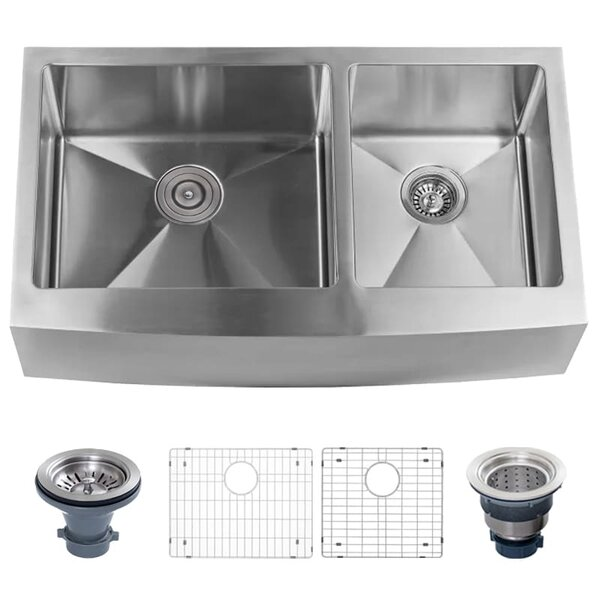 Stainless Steel 33 L x 21 W Double Basin Farmhouse Kitchen Sink with Apron Front with 60/40 Split by Miseno