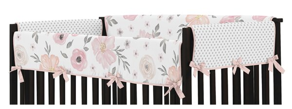 Watercolor Floral Crib Rail Guard Cover by Sweet Jojo Designs