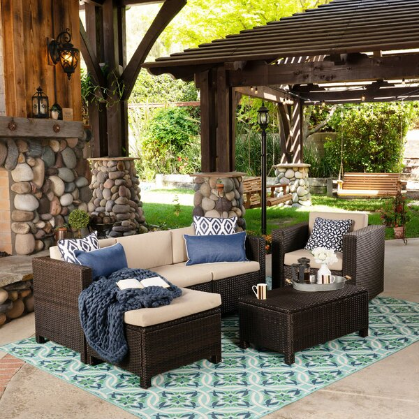 Furst Outdoor 6 Piece Rattan Sectional Seating Group with Cushions by Wade Logan