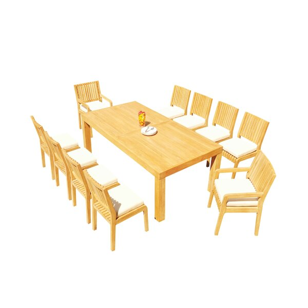 Maspeth 11 Piece Teak Dining Set by Rosecliff Heights