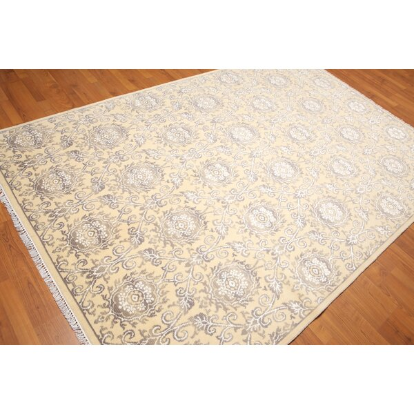 One-of-a-Kind Hillingdon Hand-Knotted Yellow Area Rug by Canora Grey