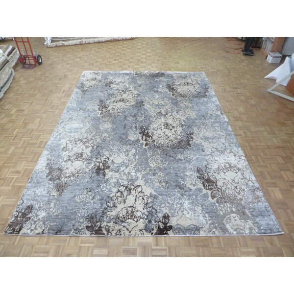 One-of-a-Kind Josephson Modern Abstract Hand-Knotted Wool Sky Blue Area Rug by Canora Grey