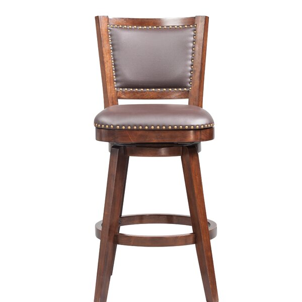 Cammy Swivel Solid Rubberwood Bar Stool by Darby Home Co