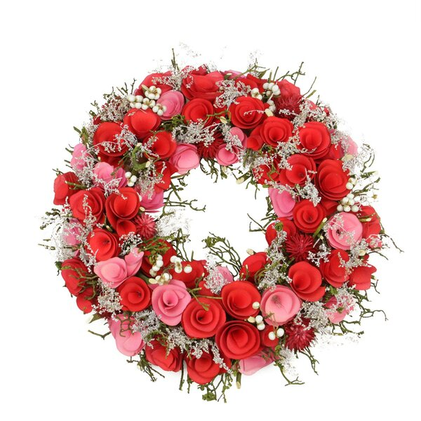 Flowers, Berries and Twig 13.5 Floral Wreath by Northlight Seasonal
