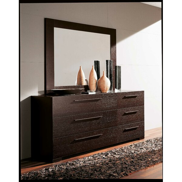 Yoko 6 Drawer Double Dresser with Mirror by YumanMod