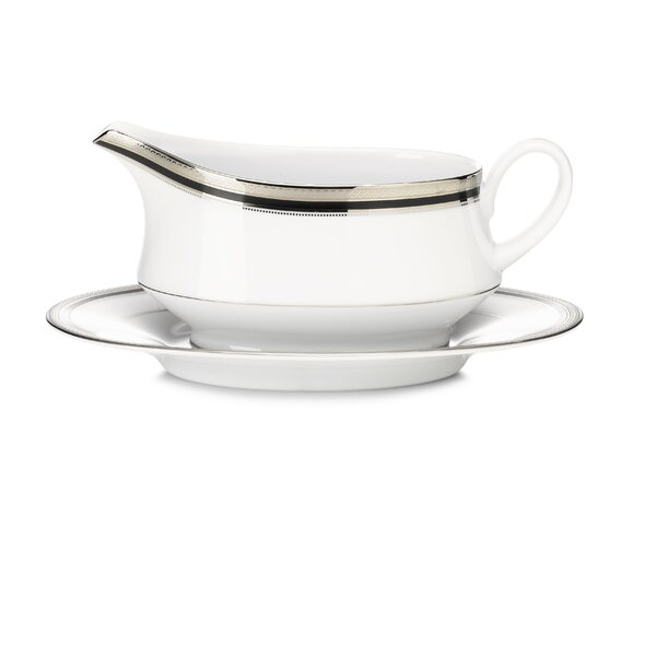 Austin Platinum Gravy Boat with Saucer 2 Piece Set by Noritake