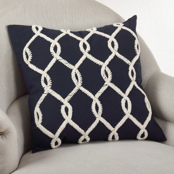 Embroidered Cord Cotton Throw Pillow by Saro
