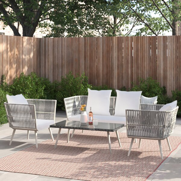 Tom Patio 4 Piece Rattan Sofa Seating Group with Cushions by Foundstone
