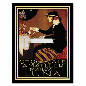 Chocolate Amatller Lune Framed Vintage Advertisement on Wrapped Canvas by Trademark Fine Art