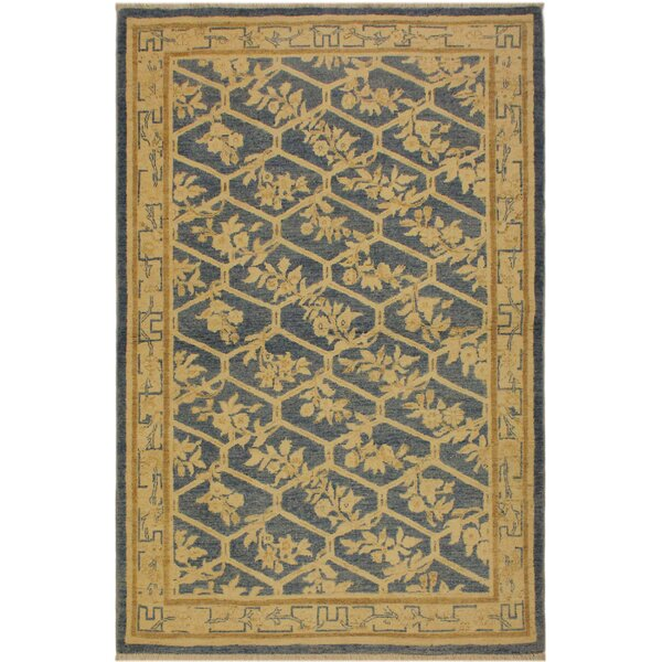 One-of-a-Kind Abelardo Sun-Faded Hand Knotted Wool Light Blue/Tan Area Rug by Isabelline