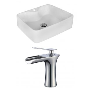 Bargain Above Counter Ceramic Rectangular Vessel Bathroom Sink with Faucet By Royal Purple Bath Kitchen
