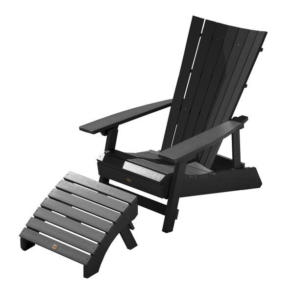 Deutsch Plastic Adirondack Chair with Ottoman by Breakwater Bay