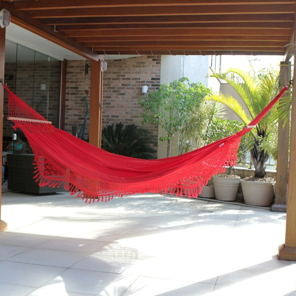 Single Person Fair Trade Comfortable Tropical Rubies' Hand-Woven Brazilian Cotton with Crocheted Trimming Indoor And Outdoor Hammock by Novica