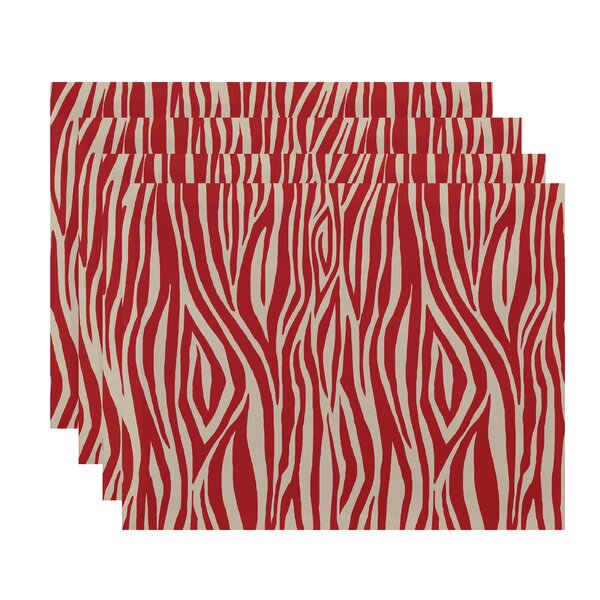 Kam Wood Stripe Geometric Print Placemat (Set of 4) by Bloomsbury Market