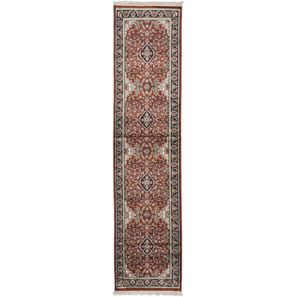 One-of-a-Kind Halls Hand-Knotted Dark Orange-Red Area Rug by Isabelline