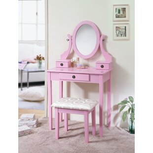 Charmant Blush Pink Vanity Stool | Wayfair