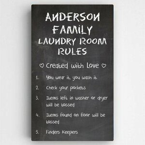 Personalized Laundry Room Rules Sign Textual art on Canvas by JDS Personalized Gifts