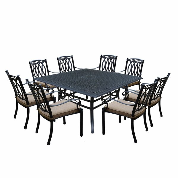 Otsego 9 Piece Cast Aluminum Dining Set with Cushions by Darby Home Co