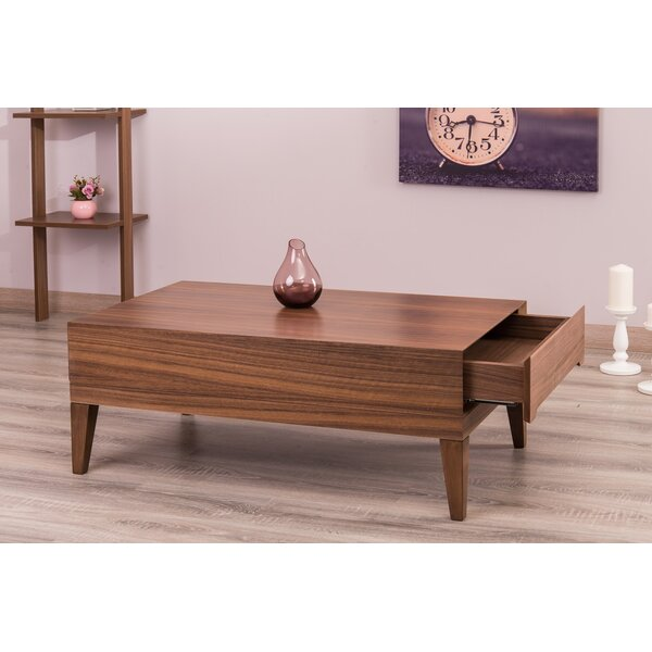 Ariah Lacquer Modern Coffee Table with Storage by Corrigan Studio