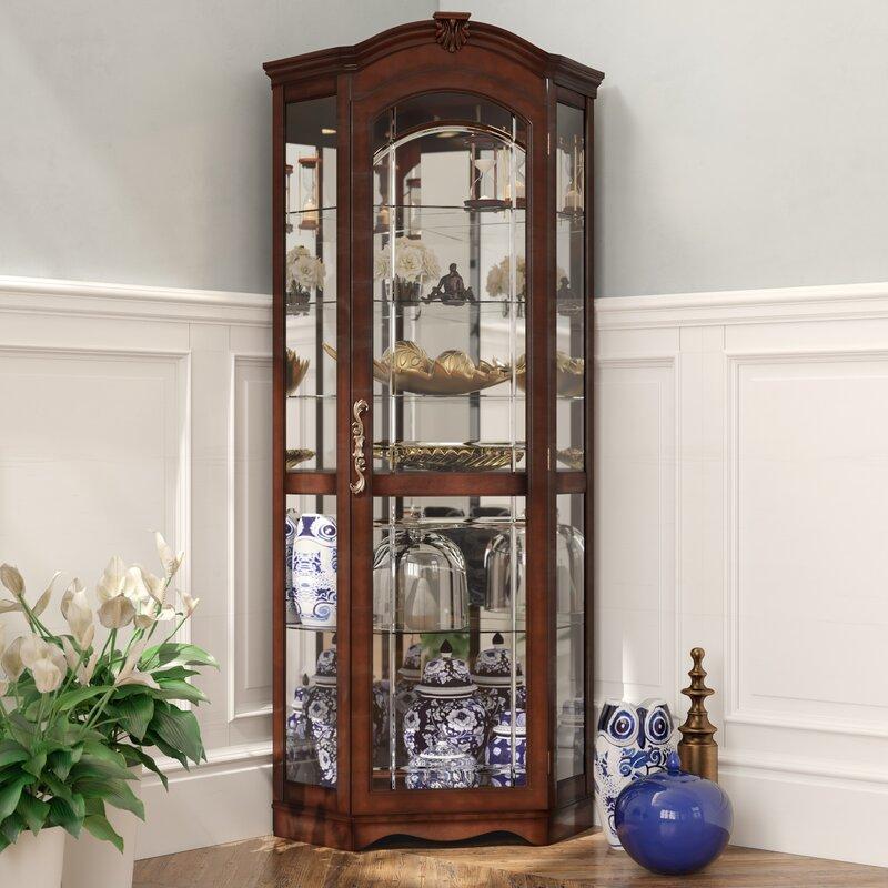 Purvoche Lighted Corner Curio Cabinet