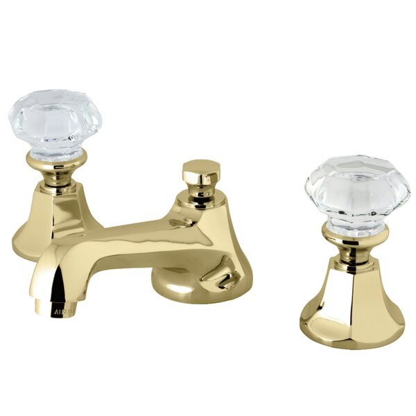 Celebrity Double Crystal Handle Widespread Bathroom Faucet with Drain Assembly