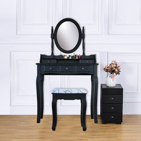 Hilburn 5 Drawer Vanity Set with Mirror (Set of 2) by Alcott Hill