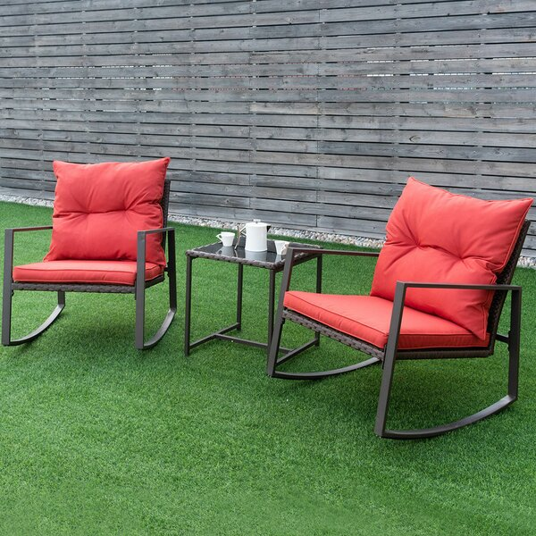 Ledyard 3 Piece Rattan 2 Person Seating Group with Cushions by Winston Porter