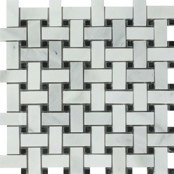 Basketweave Tumbled 12 x 12 Travertine Mosaic Tile