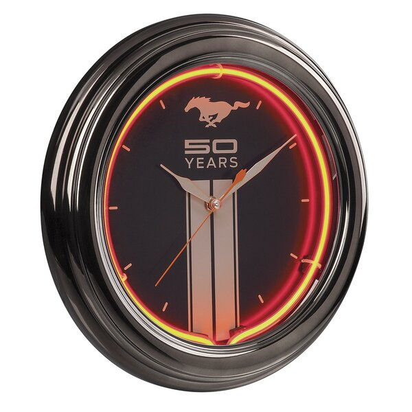 Mustang 50th Neon 14.5 Wall Clock by Ford