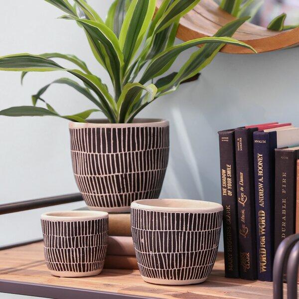 Reames Round 3 Piece Stone Pot Planter Set by Bungalow Rose