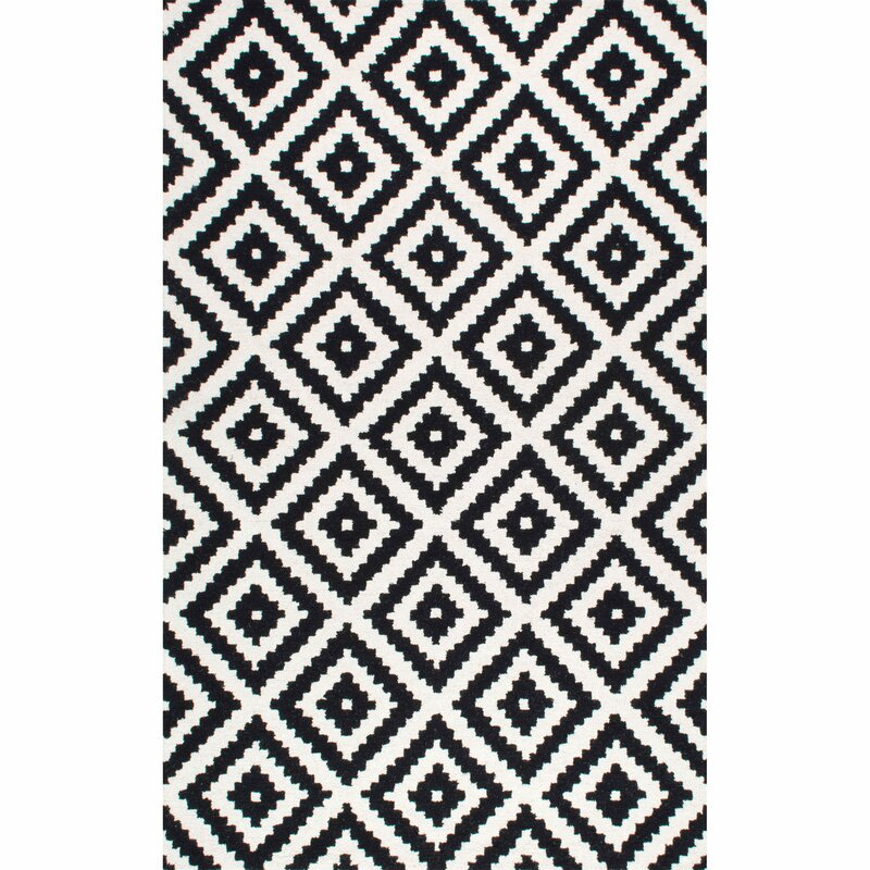 Black And White Geometric Rugs For Sale: Mercury Row Obadiah Hand-Tufted Wool Black Area Rug