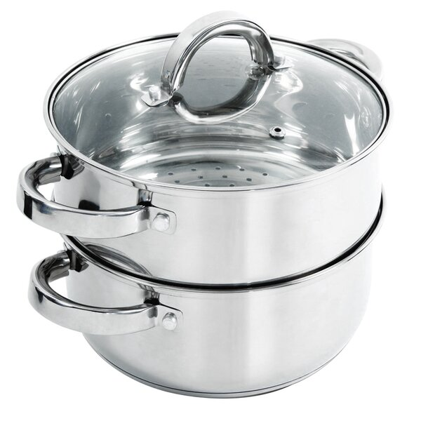 Hali 3 Qt. 3 Piece Stainless Steel Steamer Set with Lid by Oster