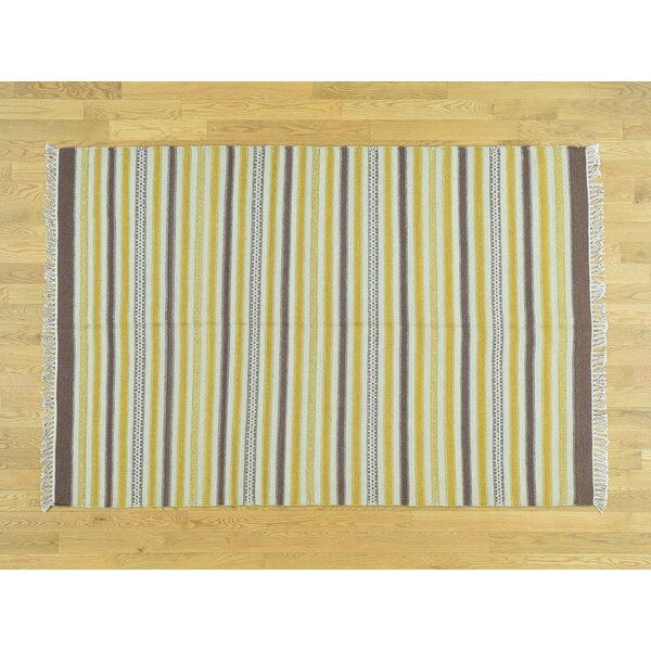 One-of-a-Kind Bertram Striped Handmade Kilim Brown/Purple Wool Area Rug by Isabelline