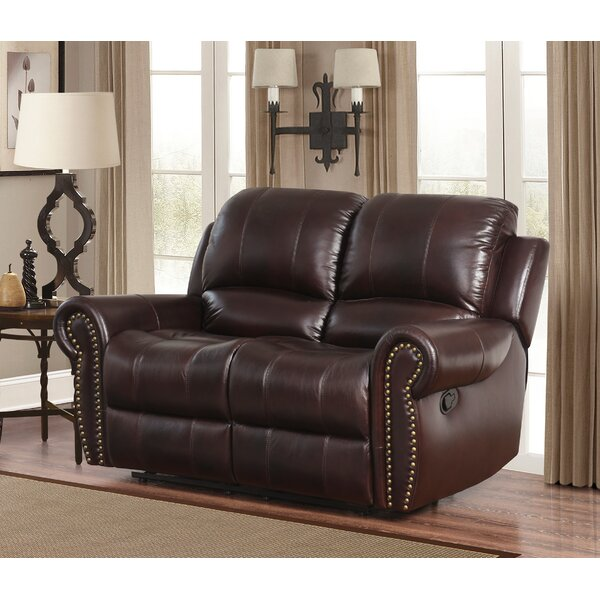 Discount Barnsdale Leather Reclining Loveseat by Darby Home Co by Darby Home Co