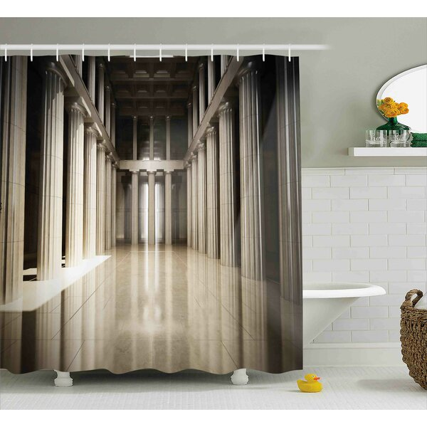 Theresa 3D Model Style Column Interior Empty Room Digital Image Decorative Design Shower Curtain by Ebern Designs