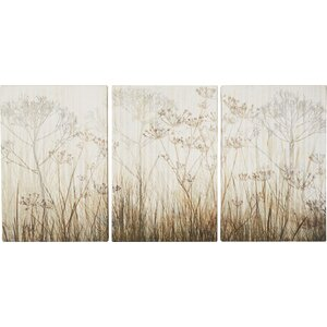'Wildflowers Ivory' 3 Piece Graphic Art on Wrapped Canvas Set (Set of 3) by Three Posts