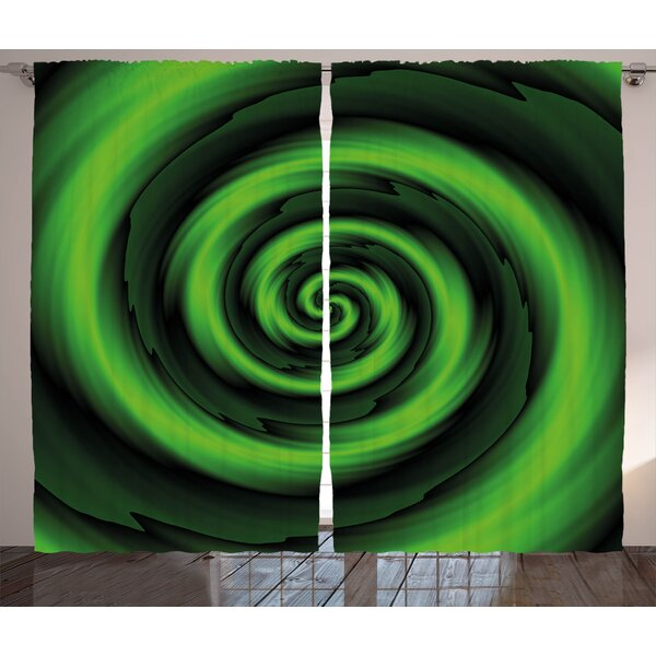 Dahill Spires Digitally Generated Swirling Decreasing Figure with Vibrating Lights Art Print Graphic Print & Text Semi-Sheer Rod Pocket Curtain Panels (Set of 2) by Latitude Run