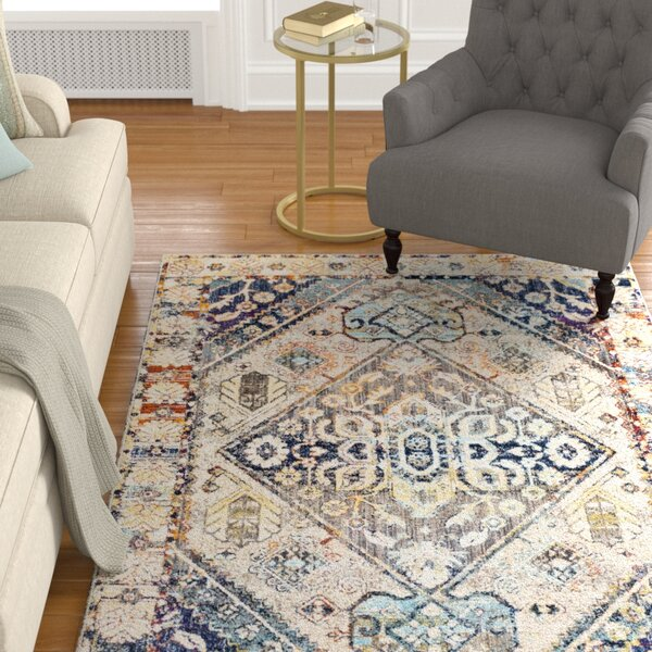 Sam Distressed Vintage Butter/Navy Area Rug by Charlton Home