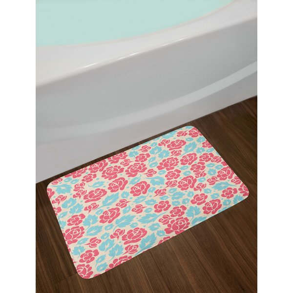 Rose Buds and Leaves in Out of Date Style Feminine Garden Bath Rug by East Urban Home