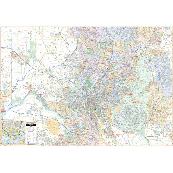 Laminated Cincinnati OH Wall Map 53 x 76 by Universal Map